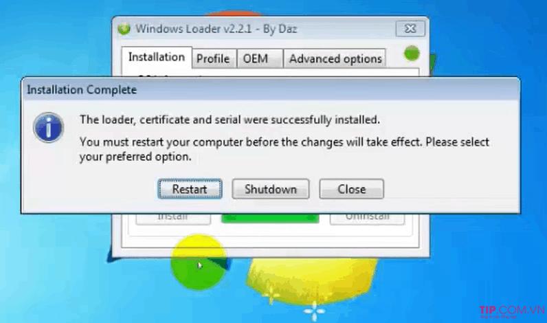 Cách active win 7 bằng Windows Loader 2.2.2
