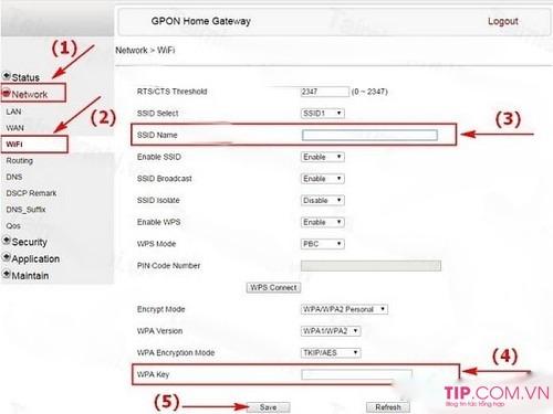 Đổi tên Wifi GPON cho các mạng VNPT, Viettel, FPT