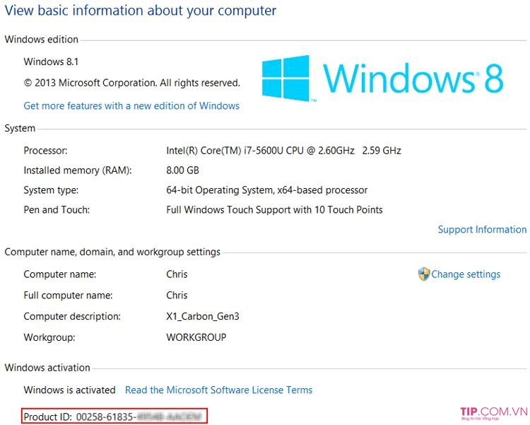 Key Win 8 / Win 8.1 - Key windows 8/8.1 cài đặt và Active bản quyền vĩnh viễn