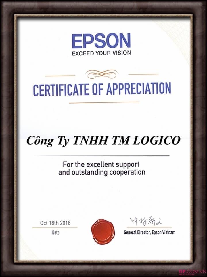Chứ nhận nhà phân phối máy chiếu Epson Chính hãng tại Việt Nam