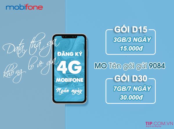 Cách đăng ký 4G Mobifone 3 ngày, 7 ngày giá chỉ từ 15 - 30k