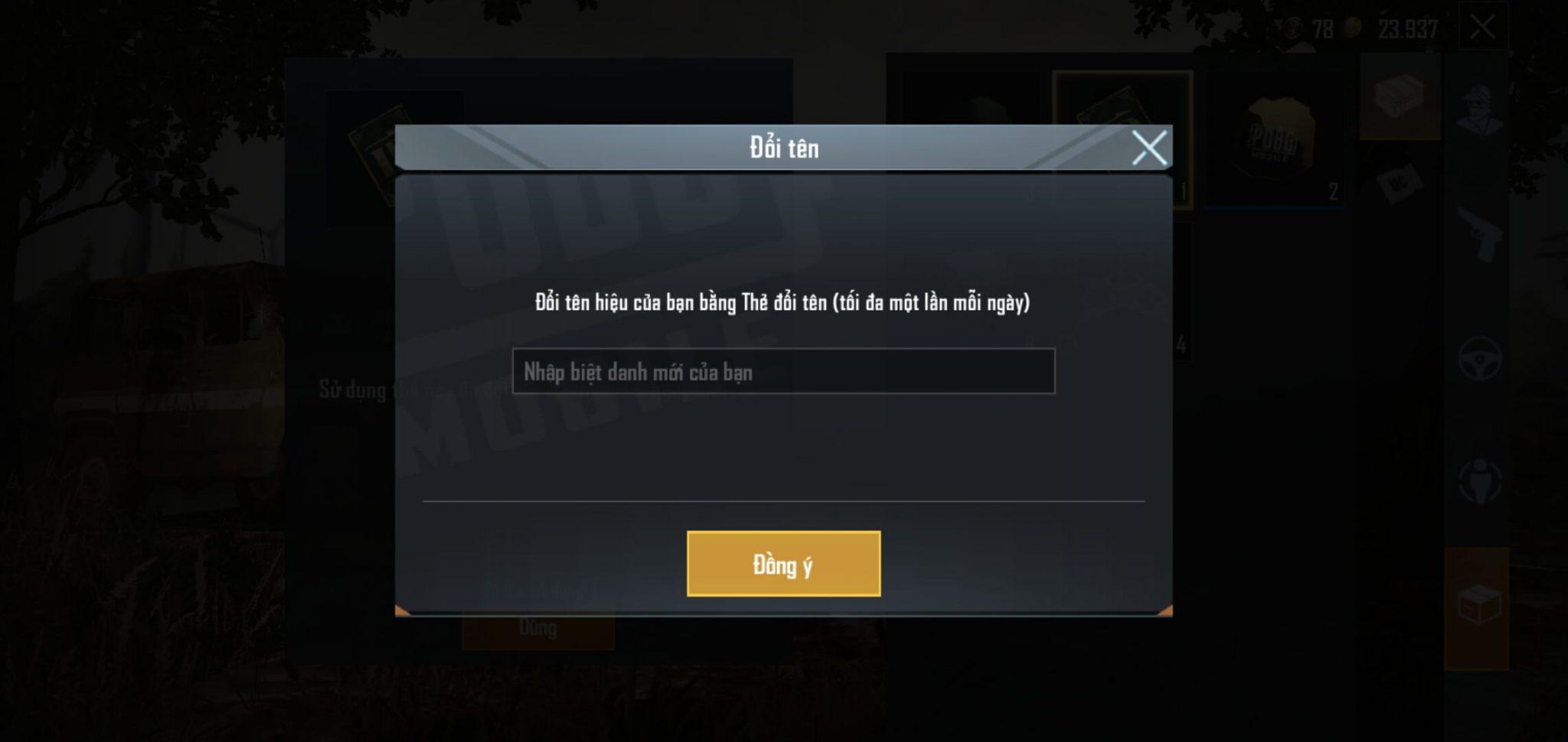 Hướng dẫn cách đổi tên nhân vật trong game Pubg Mobile