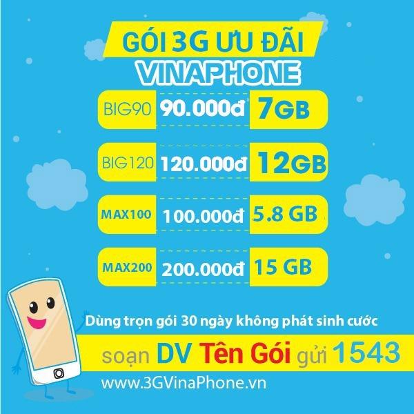 Ưu đãi data thả ga gấp 6 lần khi đăng ký gói cước 3G Vinaphone trọn gói không giới hạn data