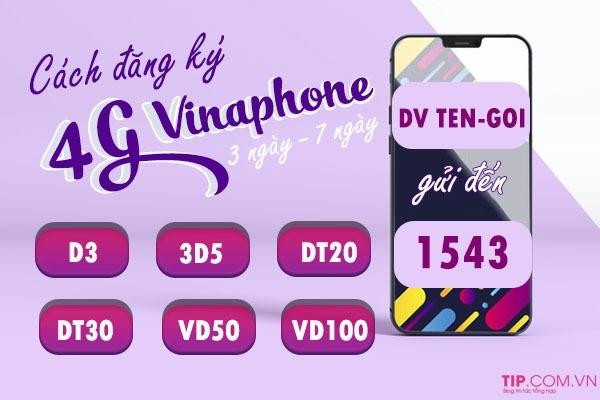 Cách đăng ký gói cước 4G Vinaphone 3 ngày, 7 ngày (tuần) giá rẻ ưu đãi khủng