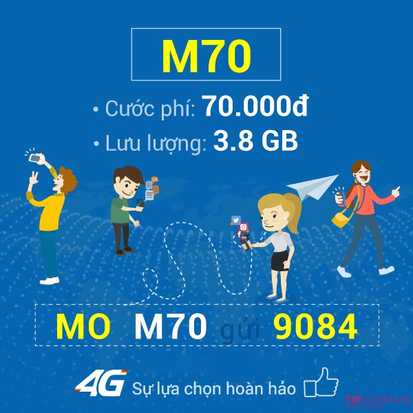 Cách đăng ký gói M70 Mobifone chỉ với 70.000đ có ngay 3,8GB data tốc độ cao