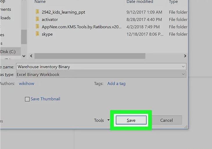 Lưu file dưới dạng tập tin nhị phân giảm dung lượng file excel